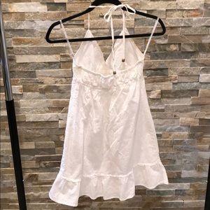 Dresses - White, cotton sundress with khaki flower design